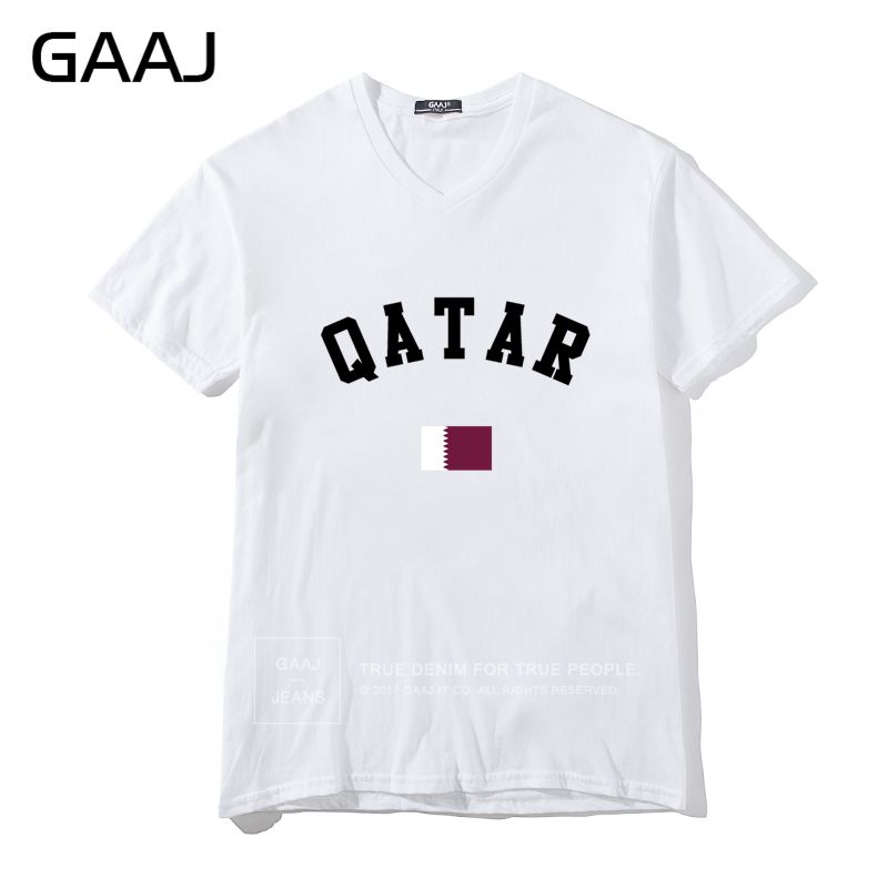 Diy Men V Neck Short Sleeve T shirt Qatar Flag Men T Shirts Ladies Cotton T-shirt White - intl