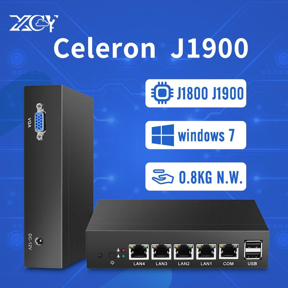Mini PC Pfsense Windows OS 4 Gigabit Ethernet LAN Celeron J1800 J1900 Fanless Firewall Router Client Industrial Computer desktop цена