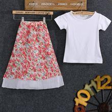 Детский комплект одежды для маленьких девочек Однотонная футболка