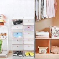 12 PCS Foldable Plastic Shoe Boxes Universal Home Organizer Stackable Storage Drawer Transparent Home Holding Box