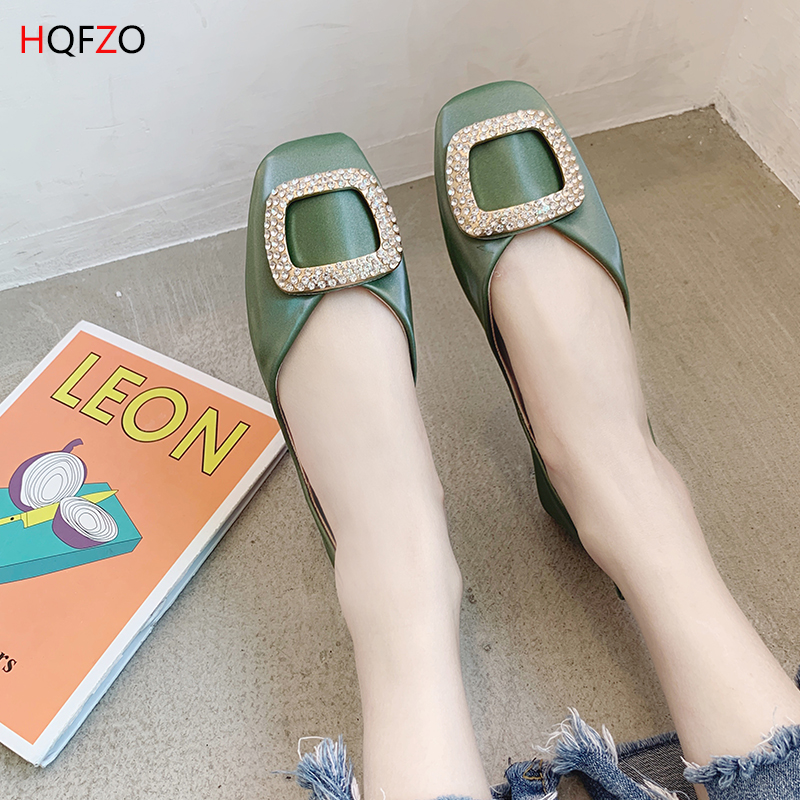 HQFZO 2019 new buckle rhinestone ladies loafers flat single shoes comfortable slip on spring summer women