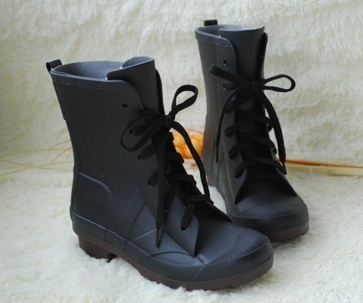 Short Black Lace Up Pvc Rain Boots For Women ,Cool shoes Size:S,M ...