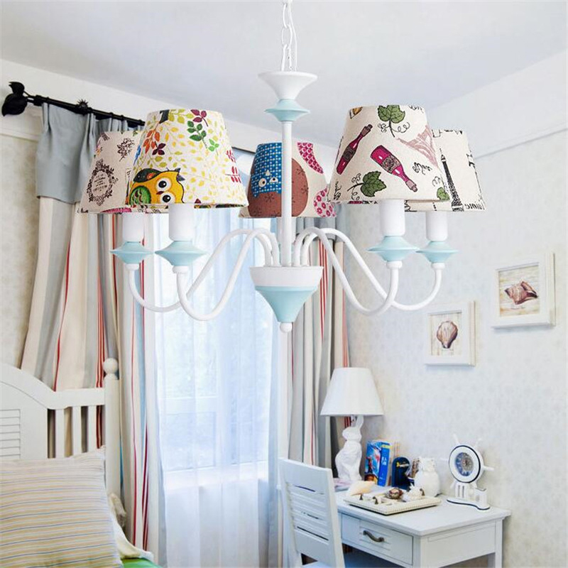 Cartoon Kid Light Pendant Light Fixture Linen Fabric Lamp Shade Cover,White Lamp Bracket Lighting For Girls Room Kids Bedroom willlustr fabric wall lamp beige cloth light europe bronze lighting fixture bedside claridge double sconce with linen shade