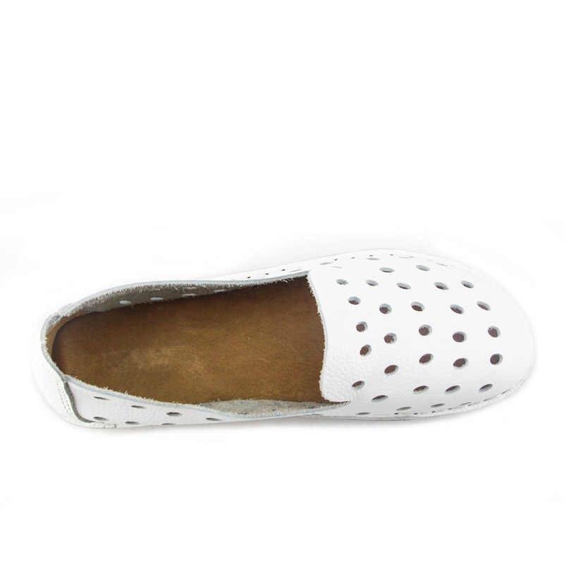 YAERNI kadın ayakkabısı el yapımı hakiki deri daireler düz ayak bayanlar üzerinde kayma düz ayakkabı rahat kadın ayakkabı