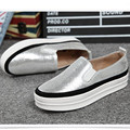 2017 new Flats Women casual shoes black thick bottom Round head Leisure shoes Silver, black, gold Loafers obuv sapatos