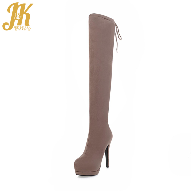 JK 2018 Hot Sale Sexy Super High Heel Spring Boots On The Platform Over The Knee Boots Side Zip Women Shoes Flock Female Shoes jk back lace up over the knee boots sexy super high heel women shoes on the platform winter boots 2018 new rubber female shoes