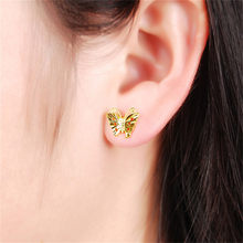 Christmas Gift Real 24k Gold Color Animal Butterfly Stud Earrings Women Girls Jewellery Party Fashion Earrings(China)