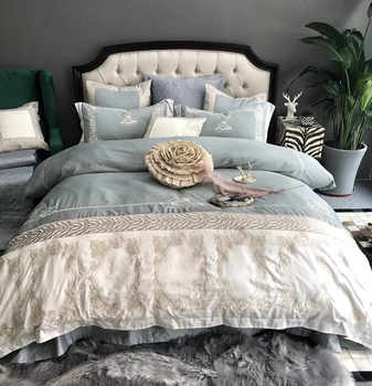 Light blue White luxury 100S Egyptian Cotton silvery Embroidery Bedding Set Queen King Size Duvet Cover Bed sheet Pillowcases - DISCOUNT ITEM  33% OFF All Category