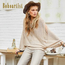 Bohoartist Women Loose Knitwear Tops 2017 Autumn Hollow Out Apricot Batwing Sleeve Clothing Bohomian Female Elegant Thin Shirts