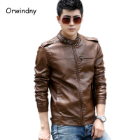 Men's Clothing 2017 New Fashion Mens Leather Jackets And Coats Slim Leather Motorcycle Jacket Men Brown Leather Jacket Men 4XL