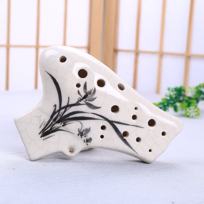 16 Holes Double Pipe Alto C Prossional Ceramics Ocarina Chinese Musical Instrument Flute blue 12 holes ocarina kiln fired ceramic alto c legend of zelda zelda ocarina flute of time xmas kids gift free shipping
