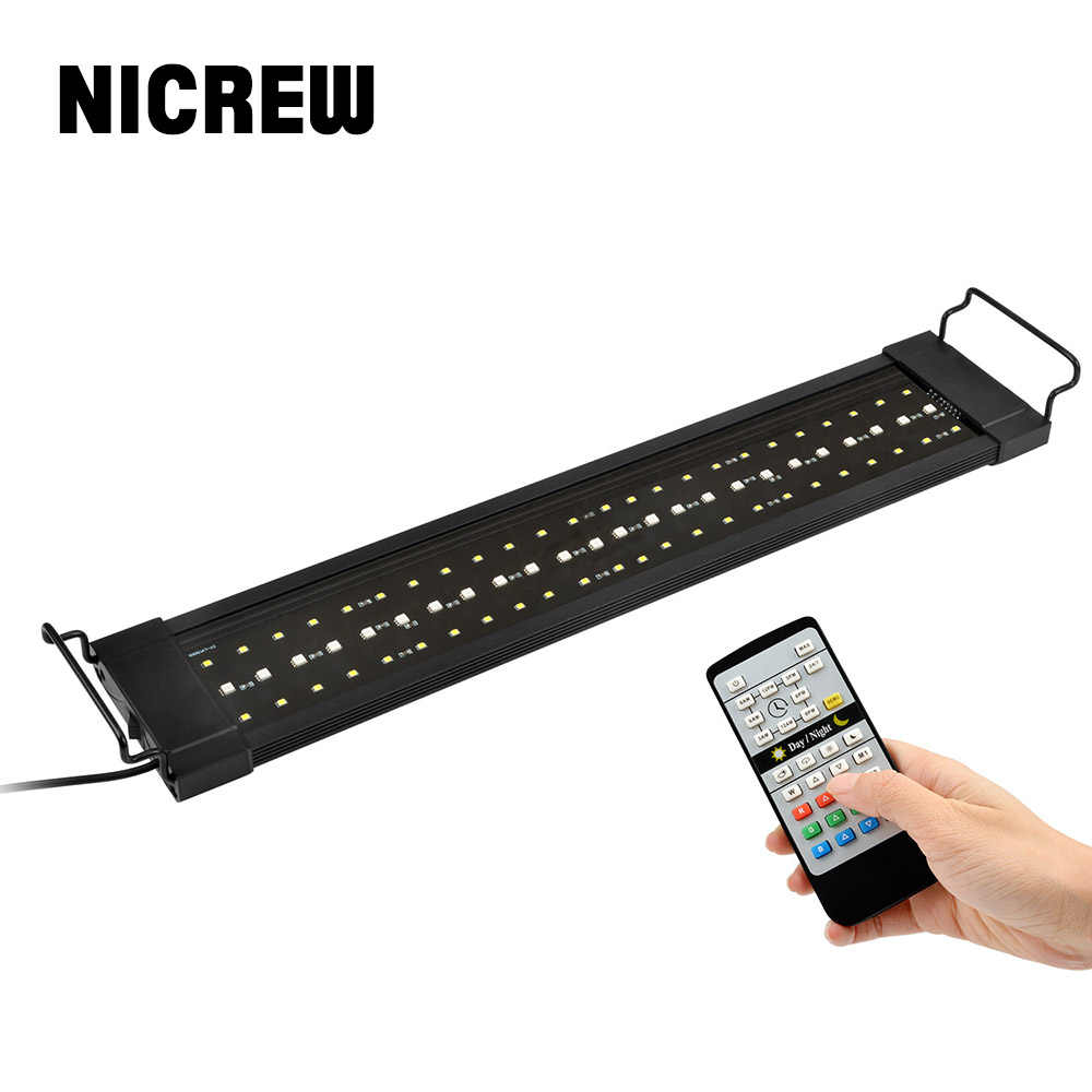 Lampa NICREW do akwarium wędkarstwo oświetlenie LED 24/7 godzin zautomatyzowane z kontrolerem oświetlenie do akwarium do akwarium 110V-240V 30-72cm