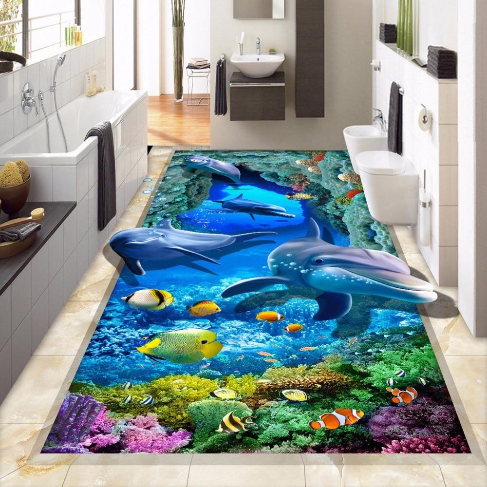 Popular dolphin wall murals buy cheap dolphin wall murals for Bathroom floor mural