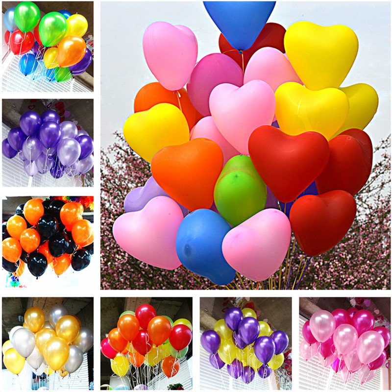 10pcs 12inch 2 2g Green Orange Heart Latex Balloons Birthday Wedding Supply Latex Balloons Air Balls Kids Party Inflatable Toys in Ballons Accessories from Home Garden