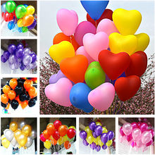 10pcs 12inch 2.2g Green Orange Heart Latex Balloons Birthday Wedding Supply Latex Balloons Air Balls Kids Party Inflatable Toys(China)