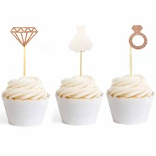 12pcs Diamond Ring Wedding Crown Cupcake Toppers bride to be Cake Topper for Bridal Shower Birthday Party Decorations