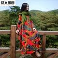 Estilo nacional otoño literario de manga larga floja irregular hem vestido de impresión de lino de algodón vestido Maxi más el tamaño bata bata