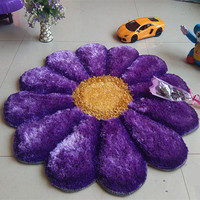 90CMx90CM Round 3D Flower Carpets For Living Room Stretch Yarn Rugs And Carpets Door Mat Wedding Bedroom Rug Decor Alfombras