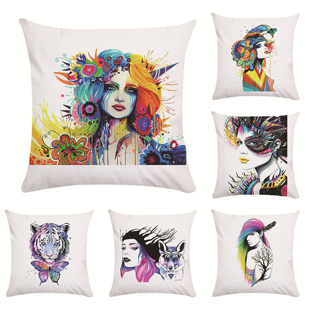 Pillow Case Colourful Pattern Pillowcase Plush Printed Nordic Simple Animal Head Geometry Pillow Covers 45x45cm