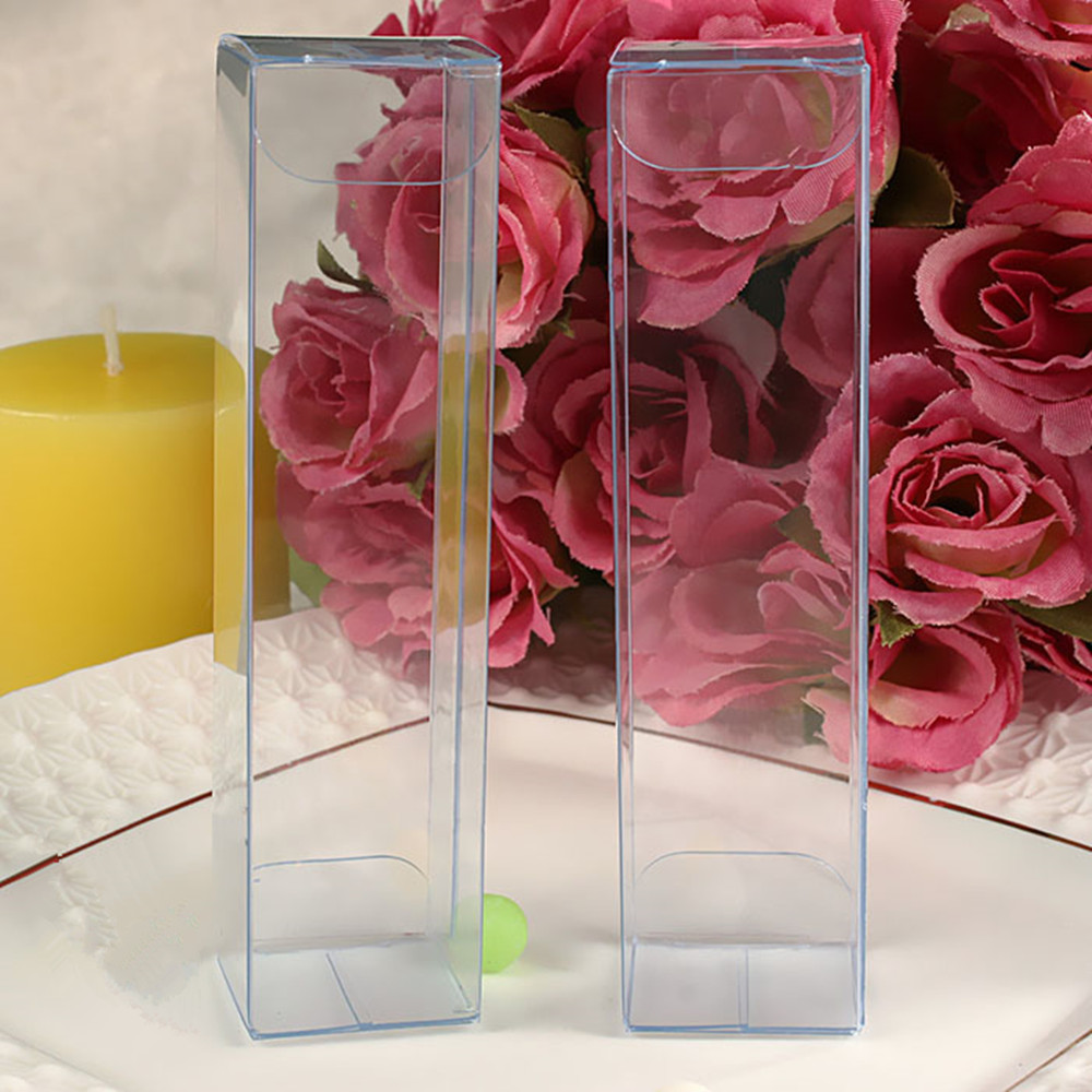 50Pcs/Lot 2.5*2.5*10cm 0.98x0.98x3.94 DIY Flower Crafts Poly Event Pack Boxes Clear Plastic PVC Box For Weeding Favor Gifts