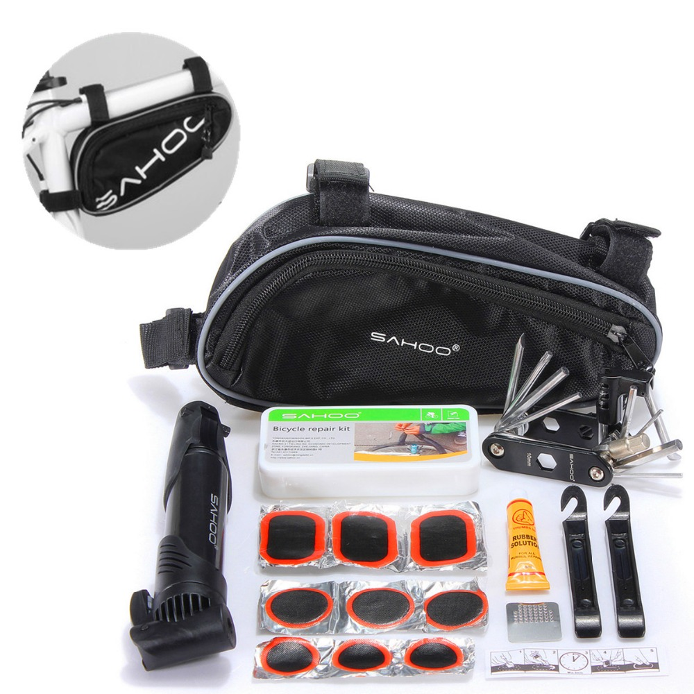 SAHOO Cycling Bike Repair Tool Bag Mini Pump Folding 15 in 1 Bicycle Tyre tire Repair With Pouch Multifunctional Tools Set Kit high quality multi function tool bag folding tire repair multifunctional kit set with pouch pump for bike bicycle h1e1