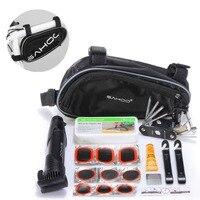 Hot SAHOO Bike Repair Tool Bag Mini Pump Folding Tool 15 In 1 Bicycle Tyre Tire
