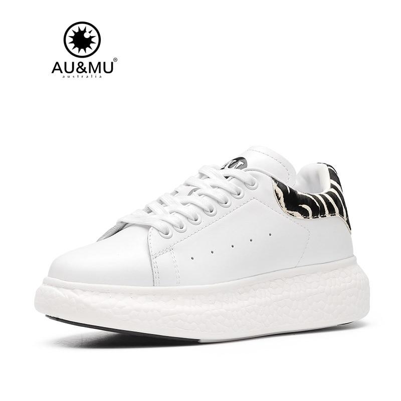 2018 AUMU Australia Zebra-Stripe Print Upper Thick Platform Casual Shoes G709 2018 aumu australia spring summer