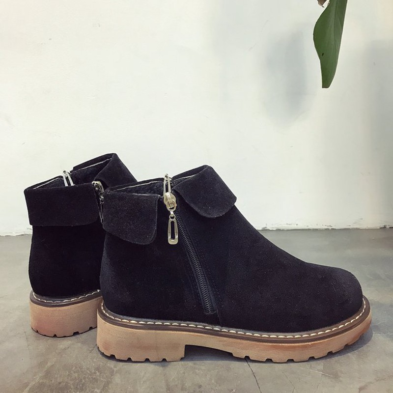 COOTELILI Side Zipper Ankle Boots For Women Winter Shoes Fashion Rubber Sole Platform Boots Ladies Shoes Black Brown 35-39 (7)
