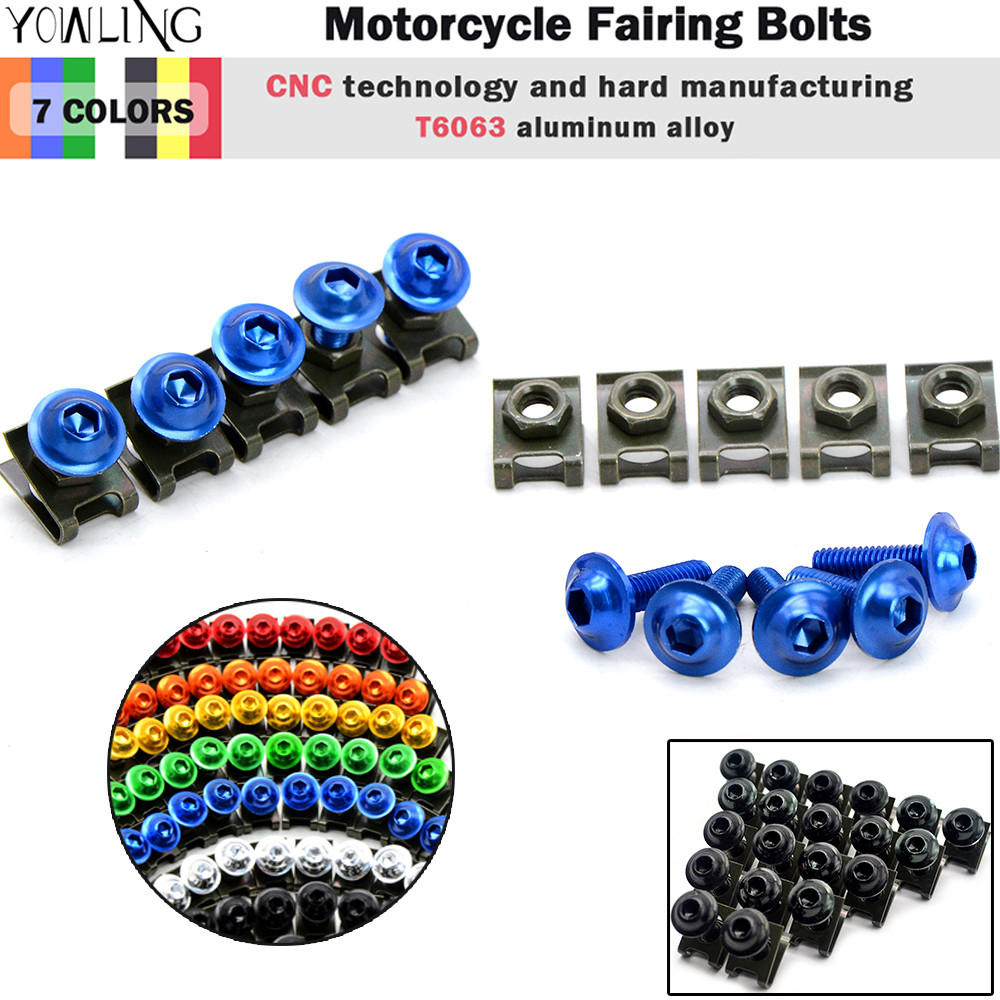 6mm cnc motorcycle parts  fairing bolts screws For Kawasaki yamaha YZF R1 R6 R10 2005 2006 2007 2008 2009 2010 2011 2012 aftermarket free shipping motorcycle parts eliminator tidy tail for 2006 2007 2008 fz6 fazer 2007 2008b lack