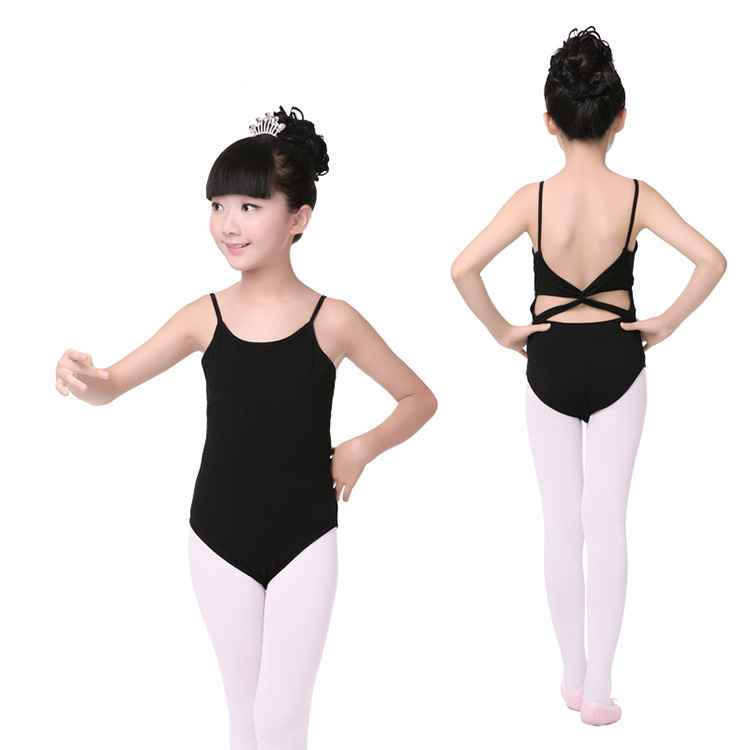 Sleeveless Black Ballet Dance Leotard Ballerina Costumes Girls Ballet Clothes Children Backless Gymnastics Leotards Dance Wear