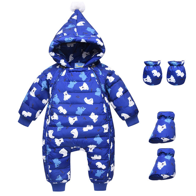 5c1677e0f051 Winter Warm Baby Girl Duck Down Rompers Infant Boy Thick Jumpsuit Snowsuit  Kid Overalls Newborn Clothes 3pc Romper+Gloves+Shoes