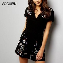 VOGUE N New Womens Ladies Floral Embroidered Black Shorts Jumpsuit Playsuit Rompers Size SML Wholesale