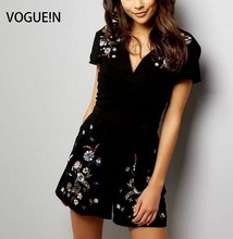 VOGUE!N New Womens Ladies Floral Embroidered Black Shorts Jumpsuit Playsuit Rompers Size SML Wholesale