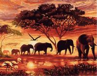 DIY Frameless Wall Paint Pictures Painting By Numbers Of Elephants DIY Canvas Oil Painting Home Decor