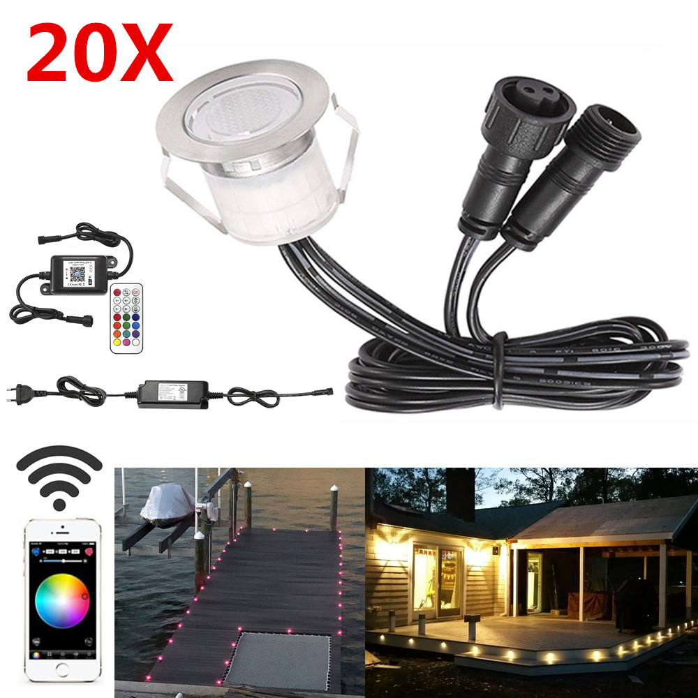 20Pcs 30mm LED Deck Stair Step Driveway Kitchen Terrace Lights Wifi Music Controller Dimmer Timer for