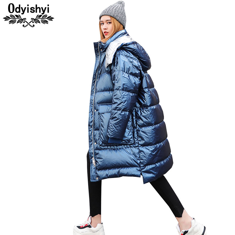 Smoky Blue Down Cotton Coats Women 2019 Long Jacket Hooded Parkas 2019 Bright Thicken Padded Jackets