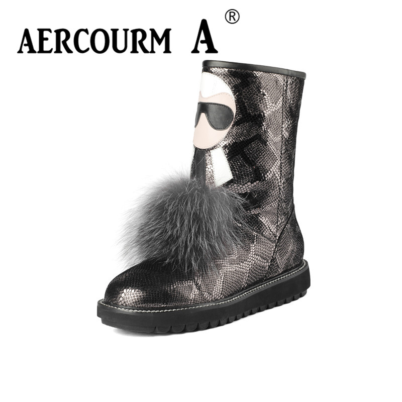 Aercourm A 2017 Women Mid-calf Boots Winter Wool Shoes Snow Boots High Quality Genuine Leather Boots Round Toe Flat Shoes Z623 women snow boots winter warm shoes solid color flat ladies snow boots round toe mid calf women boot platform girls school shoes
