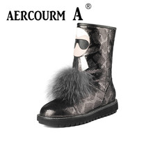 Aercourm A 2017 Women Mid-calf Boots Winter Wool Shoes Snow Boots High Quality Genuine Leather Boots Round Toe Flat Shoes Z623 2017 latest men s mid calf boots genuine leather zipper opening round toe riding equestrian chakku high boots itlian cow leather