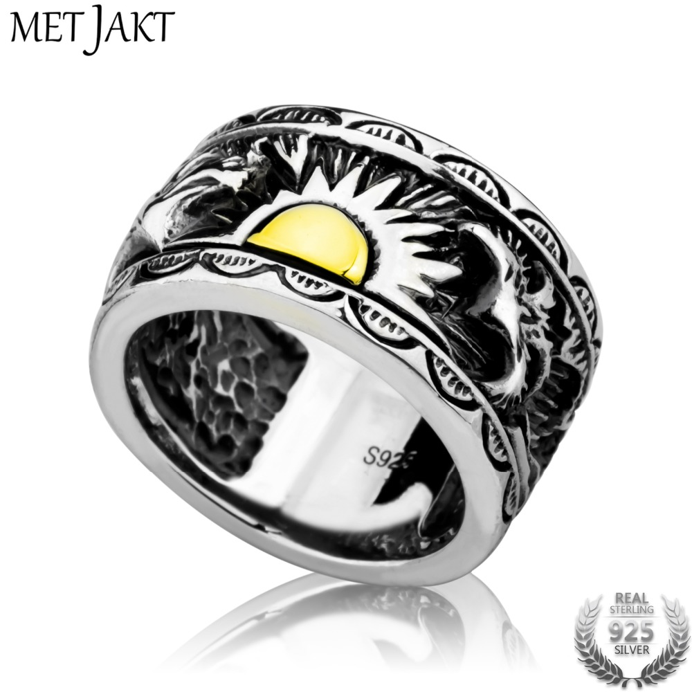 MetJakt Vintage Gents Jewelry Eagle Wings Sun Totem Ring Solid 925 Sterling Silver Ring for Men