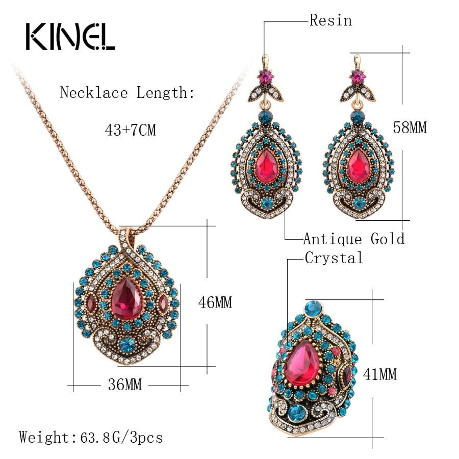 Kinel 3pcs Vintage nakit setovi za žene Antique Gold Pink Crystal - Modni nakit - Foto 2