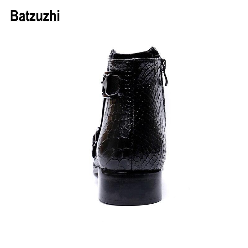Stiefel Ankle Für Männer Metall Leder De Schwarzes Westlichen Hombre Rock Batzuzhi Sicherheit Party Runway 12 Spitze Kleid Zapatos g1q0EUw