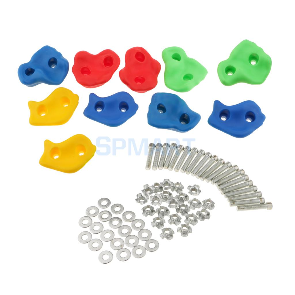 10 Pieces Children Kids Rock Climbing Wood Wall Stones Hand Feet Holds Grip Kits - Small Size