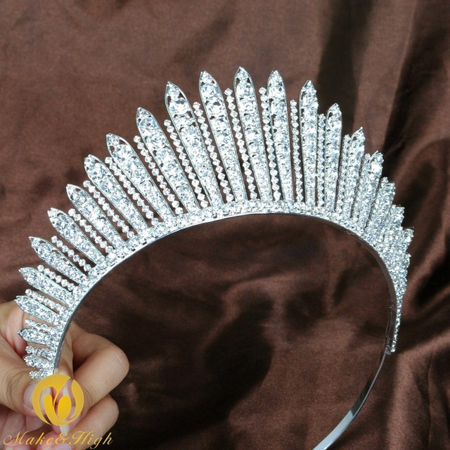 Awesome Miss Beauty Pageant Tiara Crown Clear Crystals Brides Headband Hair Accessory Wedding Bridal Prom Party Costumes 318g