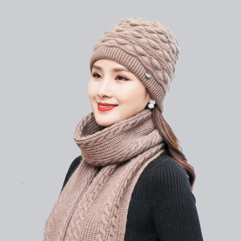 oZyc Women Winter Hats Scarf rabbit knitting wool   skullies   female warn hat cap wholesale Fur   Beanies   Hats Adults Female Skullie
