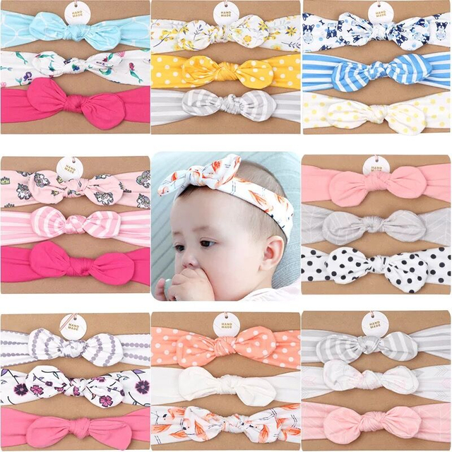 3Pcs Baby headband for girl Rabbit Ear baby Headwear Turban Dot Bowknot Elastic Hairband  Cotton baby gir hair Accessories