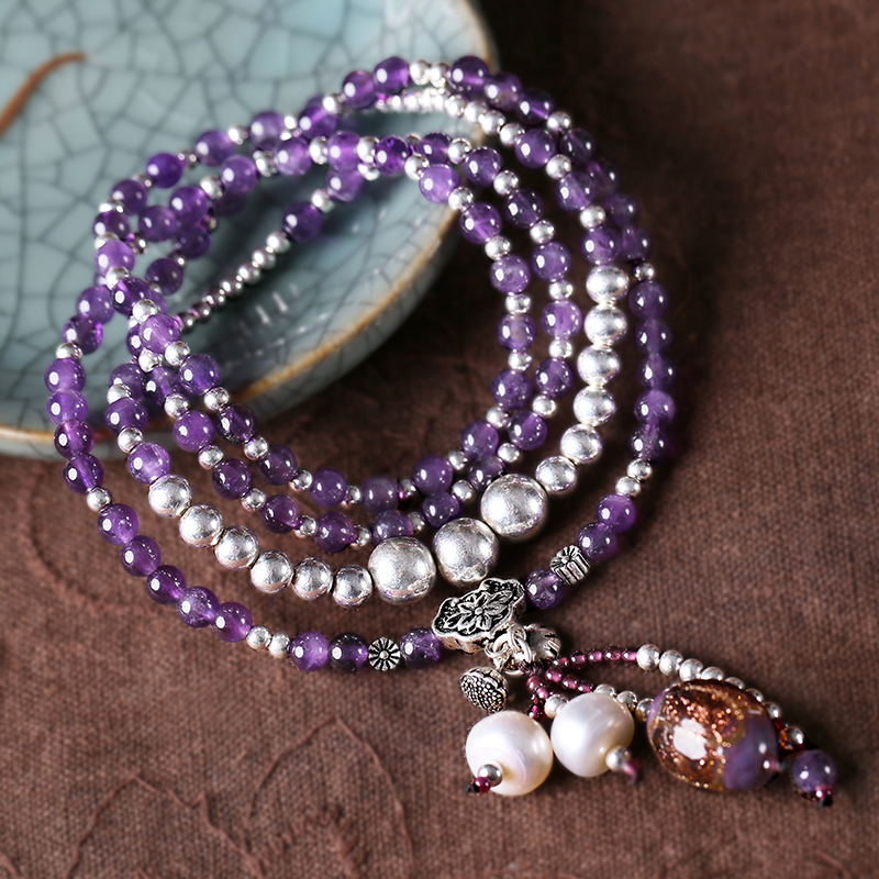Natural amethyst bracelet glass silver multi-layer multi-turn bracelet to send girlfriend Tanabata Valentine's Day gift