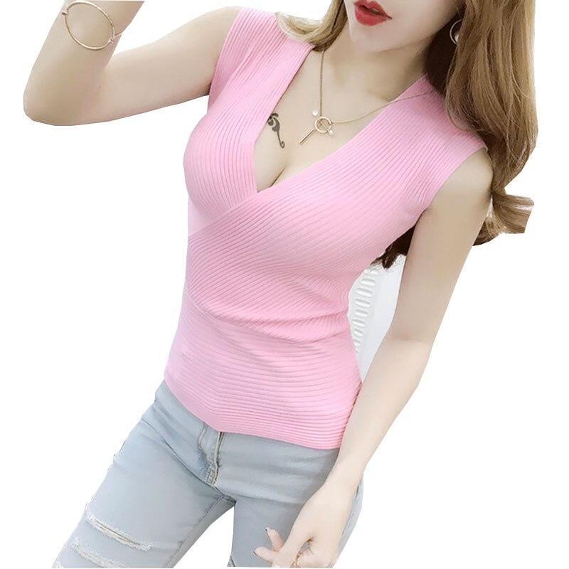 Blusas Escotadas Cross 2017 Summer Ladies T Shirt Women Sleeveless Tank Top Sexy Cross Low-cut V-neck Rib Knitting T-shirt Vest
