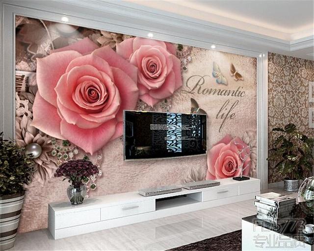 Beibehang Custom wallpaper New retro three rose jewelry TV backdrop ...