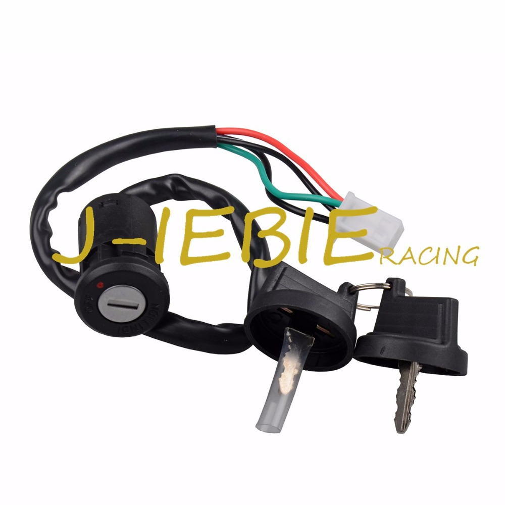 jiebeiracing atv key ignition switch 4 wire for 50 70 90 110 125 150 200  250cc