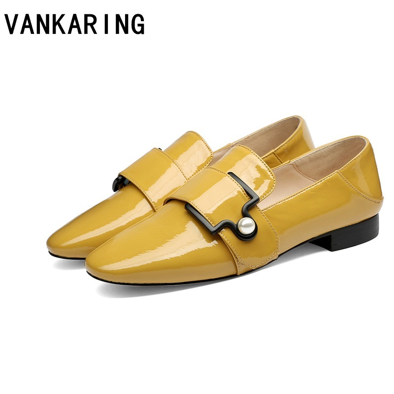 VANKARING new fashion women genuine leather shoe square toe thick high heels luxury metal buckle shoes